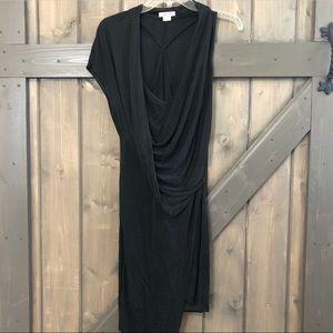 Helmut Lang Shale Jersey Drape Dress in Black